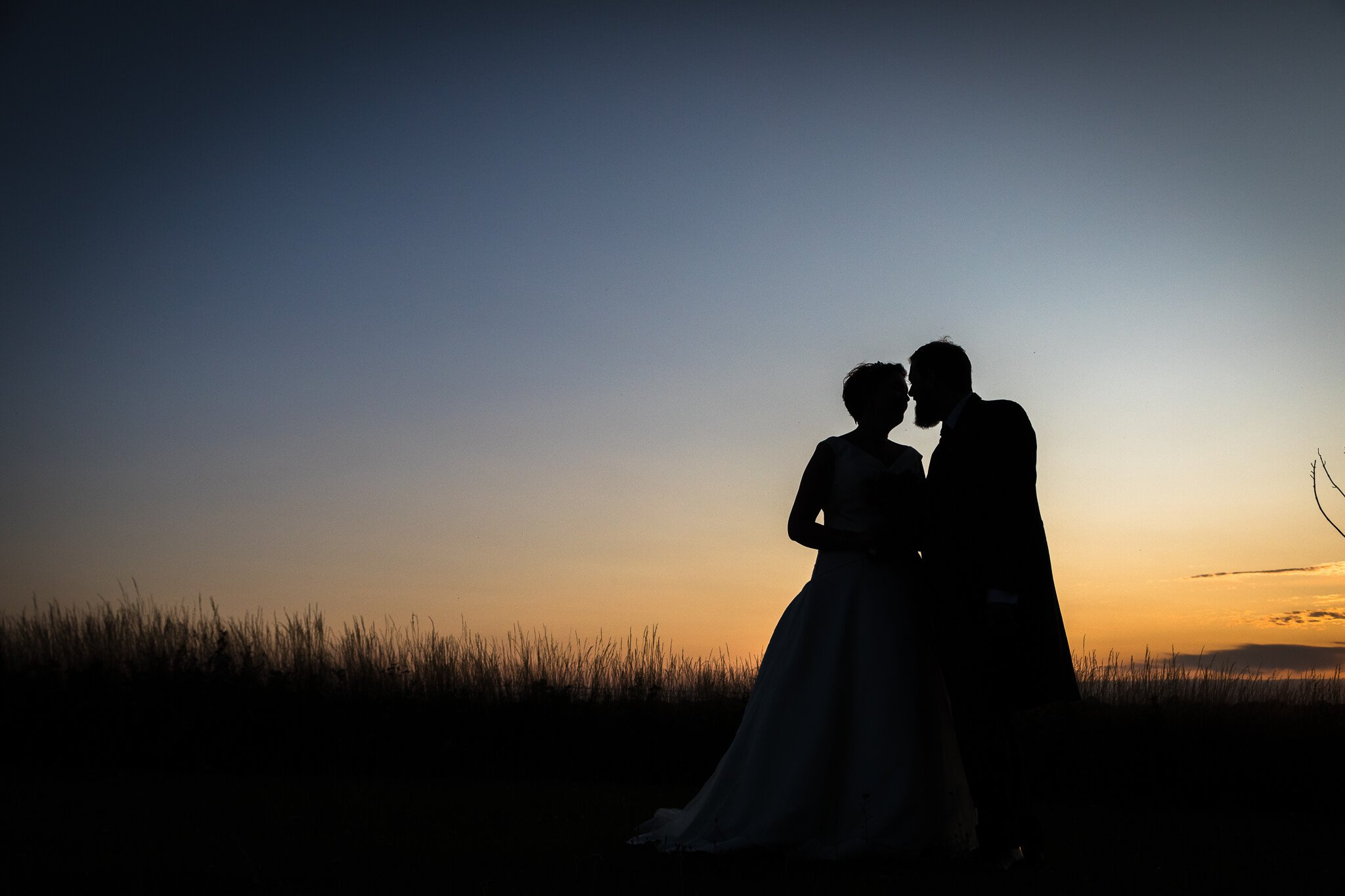 sunset shot wedding photography