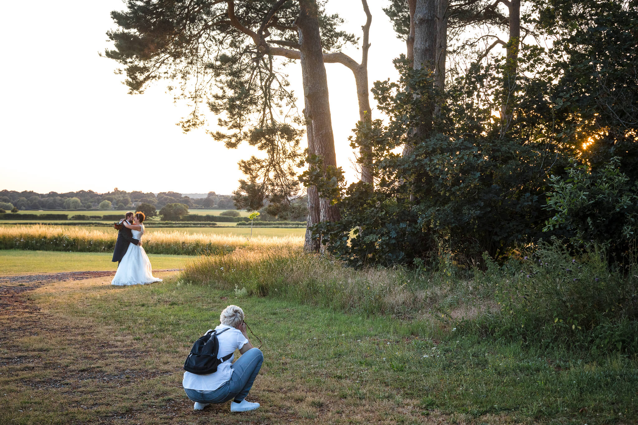 wedding-sunset-easthampstead-park
